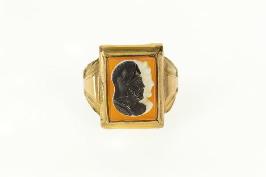 14K Carved Black Onyx Carnelian Two Face Cameo Yellow Gold Ring, Size 7.75