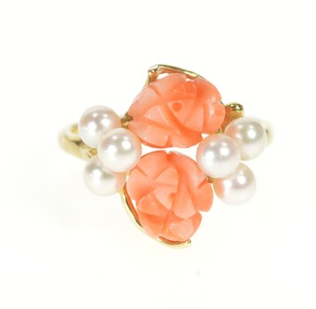 14K Carved Coral Flower Pearl Retro Statement Yellow Gold Ring, Size 6