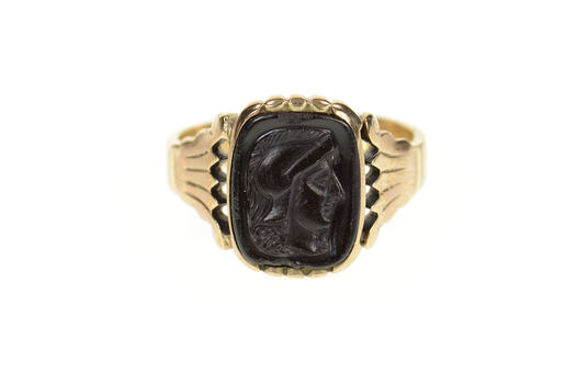 14K Carved Hematite Intaglio 1950's Ornate Men's Yellow Gold Ring, Size 10.5