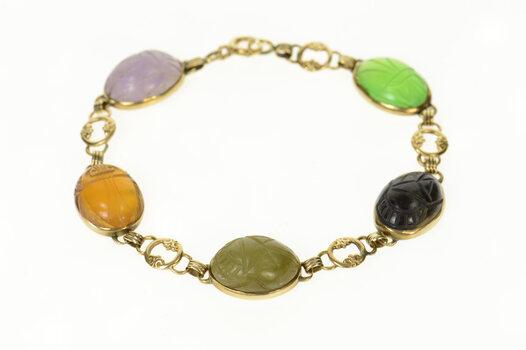 "14K Carved Jade Onyx Scarab Statement Chain Yellow Gold Bracelet 7.5"""