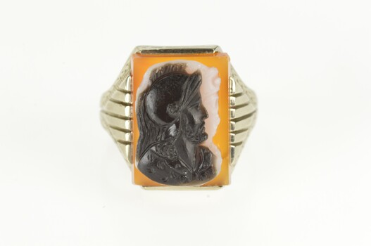 14K Carved Knight Two Face Cameo Statement White Gold Ring, Size 8.75