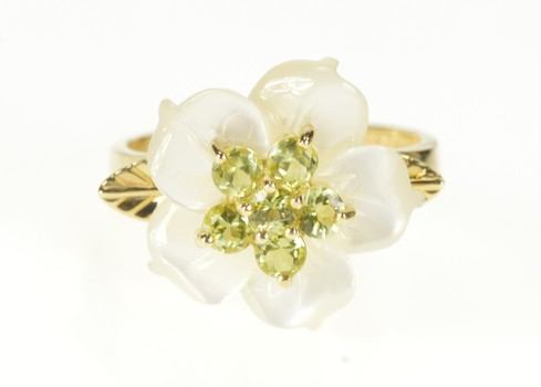 14K Carved Mother of Pearl Flower Syn. Peridot Yellow Gold Ring, Size 7