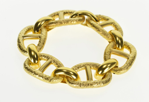 """14K Chain Huge Anchor Link Hammered Textured Yellow Gold Bracelet 7.25"""""""