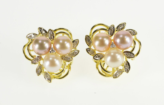 14K Champagne Pearl Diamond Cluster French Clip Yellow Gold EarRings