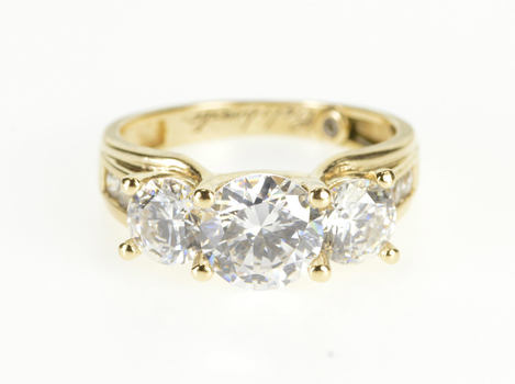 14K Channel Accent Three Stone Travel Engagement Yellow Gold Ring, Size 6.75