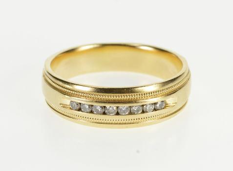 14K Channel Diamond Milgrain Wedding Band Yellow Gold Ring, Size 11