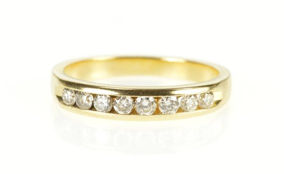 14K Channel Inset Classic Diamond Wedding Band Yellow Gold Ring, Size 5