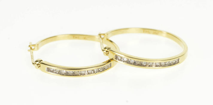 14K Channel Inset Diamond Classic Fashion Hoop Yellow Gold Earrings