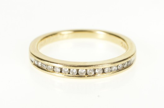 14K Channel Inset Diamond Classic Wedding Band Yellow Gold Ring, Size 7