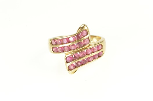 14K Channel Inset Ruby Bypass Statement Yellow Gold Ring, Size 6.25