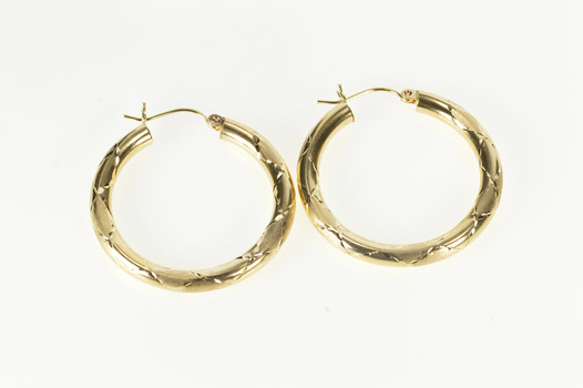 14K Checkered Pattern Two Finish Fashion Hoop Yellow Gold Earrings