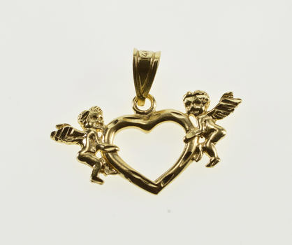 14K Cherub Accented Heart Cut Out Design Yellow Gold Pendant