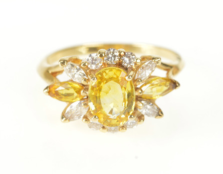 14K Citrine Diamond Floral Halo Ornate Fashion Yellow Gold Ring, Size 7.25