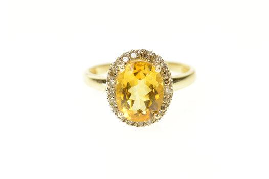 14K Citrine Diamond Halo Statement Engagement Yellow Gold Ring, Size 7