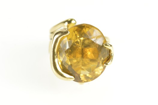14K Citrine Solitaire Abstract Freeform Statement Yellow Gold Ring, Size 4.5