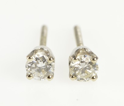 14K Classic 0.50 Ctw Diamond Solitaire Stud Yellow Gold Earrings