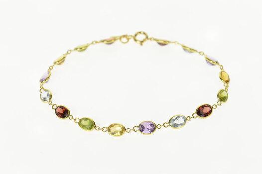 "14K Classic Amethyst Topaz Citrine Peridot Chain Yellow Gold Bracelet 6.75"""