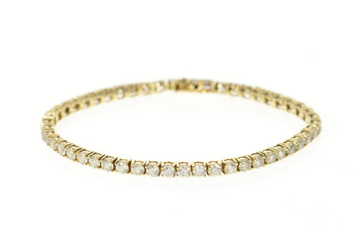 14K Classic Cubic Zirconia Encrusted Tennis Yellow Gold Bracelet 6.75""