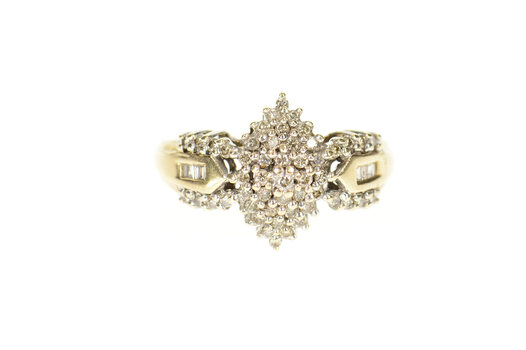 14K Classic Diamond Cluster Encrusted Statement Yellow Gold Ring, Size 10