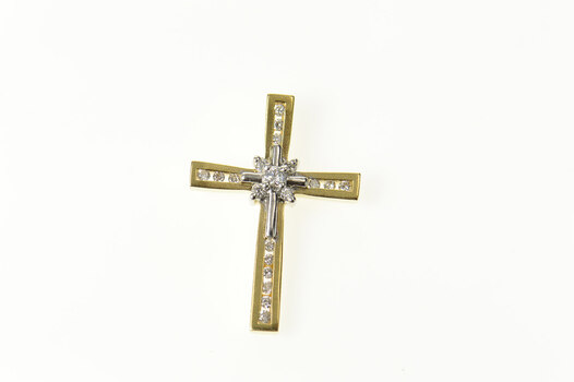 14K Classic Diamond Fancy Cross Christian Faith Yellow Gold Pendant
