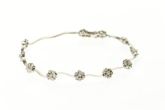 """14K Classic Diamond Flower Cluster Wavy Link White Gold Bracelet 8"""""""