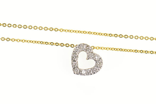 14K Classic Diamond Heart Love Cable Chain Yellow Gold Necklace 15.5""