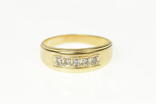 14K Classic Diamond Retro Men's Wedding Band Yellow Gold Ring, Size 10.25