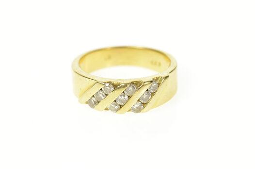 14K Classic Diamond Striped Statement Band Yellow Gold Ring, Size 8.25