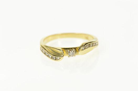 14K Classic Diamond Wavy Promise Engagement Yellow Gold Ring, Size 6