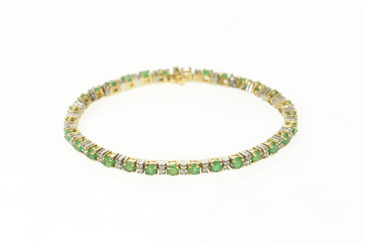 14K Classic Emerald Diamond Accent Tennis Yellow Gold Bracelet 6.5""