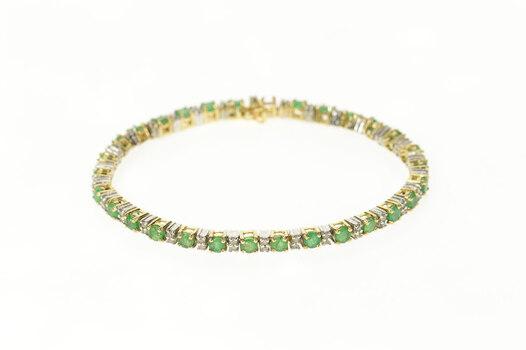 "14K Classic Emerald Diamond Accent Tennis Yellow Gold Bracelet 6.5"""