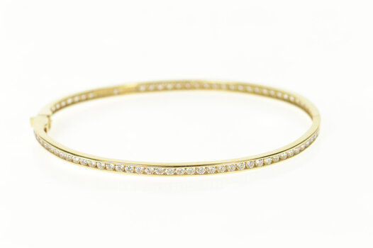 """14K Classic Oval Bangle Channel Cubic Zirconia Yellow Gold Bracelet 7"""""""