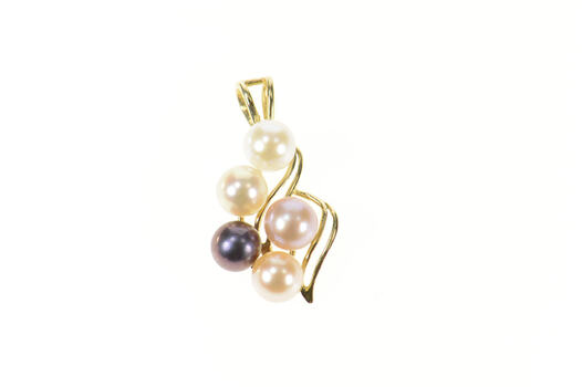 14K Classic Pearl Cluster Wavy Statement Yellow Gold Pendant