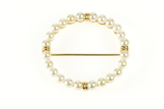14K Classic Pearl Inset Round Circle Statement Yellow Gold Pin/Brooch
