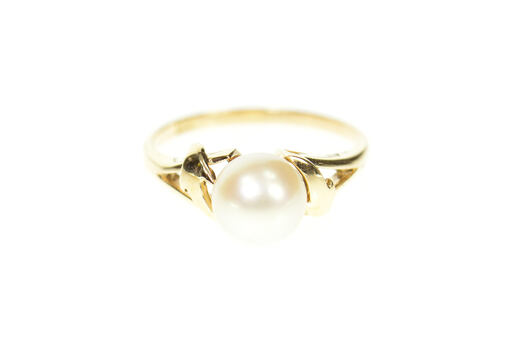 14K Classic Pearl Inset Simple Bypass Wavy Yellow Gold Ring, Size 5.75