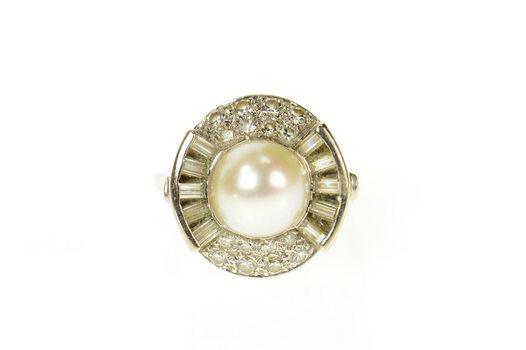 14K Classic Retro Pearl Diamond Halo Cocktail White Gold Ring, Size 6