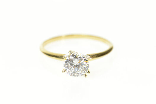 14K Classic Round Solitaire Travel Engagement Yellow Gold Ring, Size 9