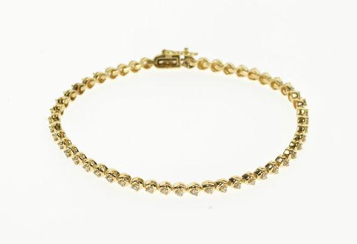 "14K Classic Rounded Diamond Inset Tennis Yellow Gold Bracelet 7.25"""