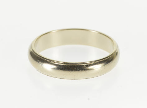 14K Classic Rounded Grooved Trim Men's Wedding White Gold Ring, Size 10.75