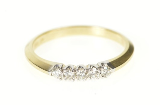 14K Classic Simple Diamond Wedding Band Yellow Gold Ring, Size 6.25