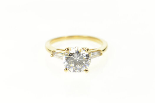 14K Classic Three Stone Travel Engagement Yellow Gold Ring, Size 7.5