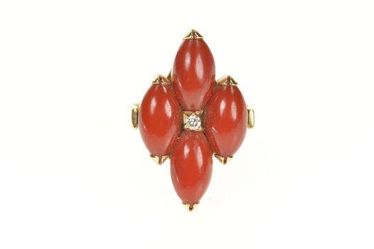 14K Coral Diamond Convertible 1960's Pendant Yellow Gold Ring, Size 7