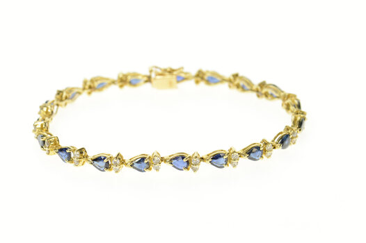 "14K CTW Pear Sapphire Diamond Accent Tennis Yellow Gold Bracelet 7.25"""
