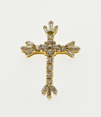 14K Cubic Zirconia Encrusted Cross Christian Symbol Yellow Gold Pendant