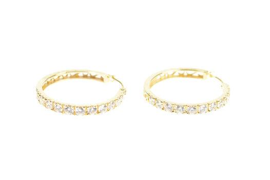 14K Cubic Zirconia Encrusted Scroll Filigree Hoop Yellow Gold Earrings