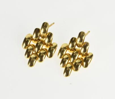14K Curved Bar Kite Shape Chain Dangle Post Back Yellow Gold Earrings