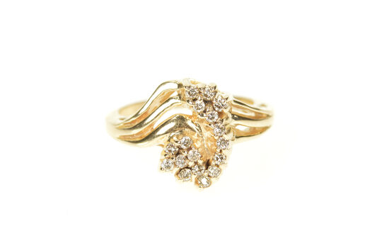 14K Curved Diamond Cluster Freeform Statement Yellow Gold Ring, Size 5.5