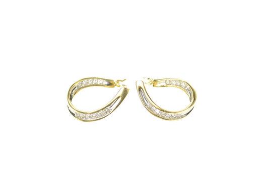 14K Curvy Inside Outside Diamond Oval Hoop Yellow Gold Earrings