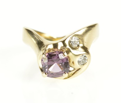 14K Cushion Amethyst Diamond Accent Wave Yellow Gold Ring, Size 3.75