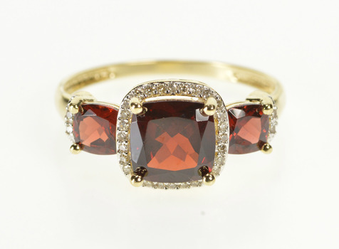14K Cushion Garnet Diamond Halo Engagement Yellow Gold Ring, Size 11.25